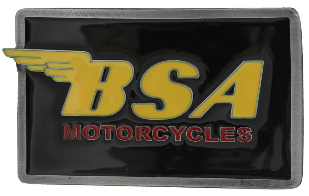 Bsa Oblong Black Yellow Belt Buckle With Display Stand